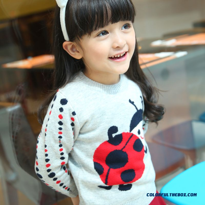 Strong Popularity Kids Clothing Cartoon Pattern Knit Round Neck Pullover Girls Sweater