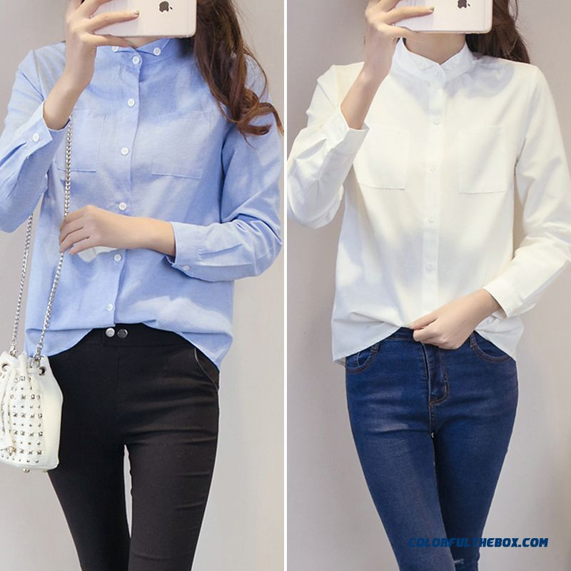 Cheap Student Slim And Thin Long-sleeved White Shirt Ladies Women ...