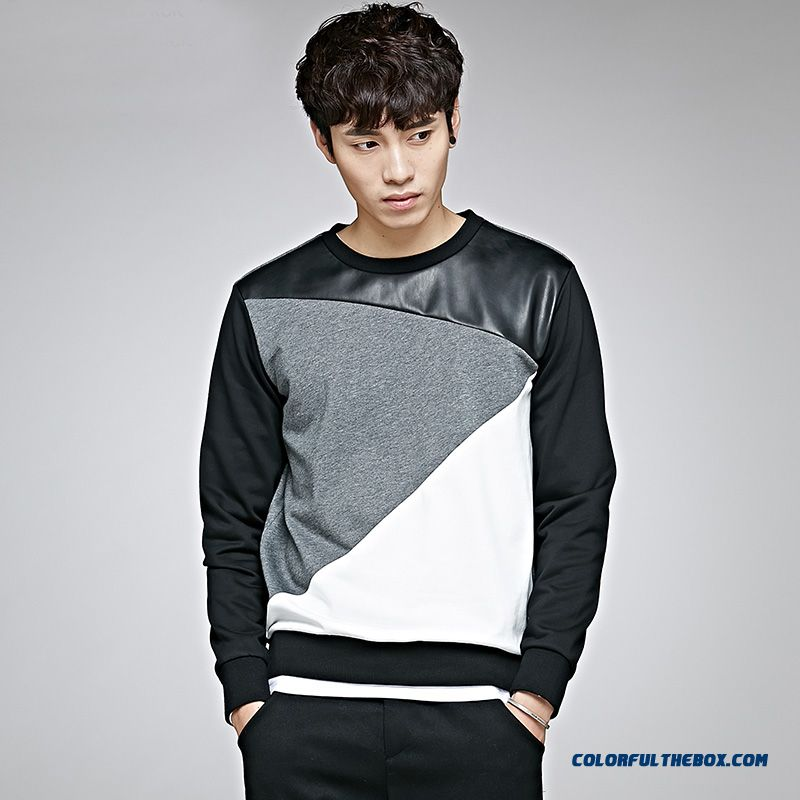 Stylish Stitching Tide Round Neck Sweatshirts Pullover Spring Men Clothing