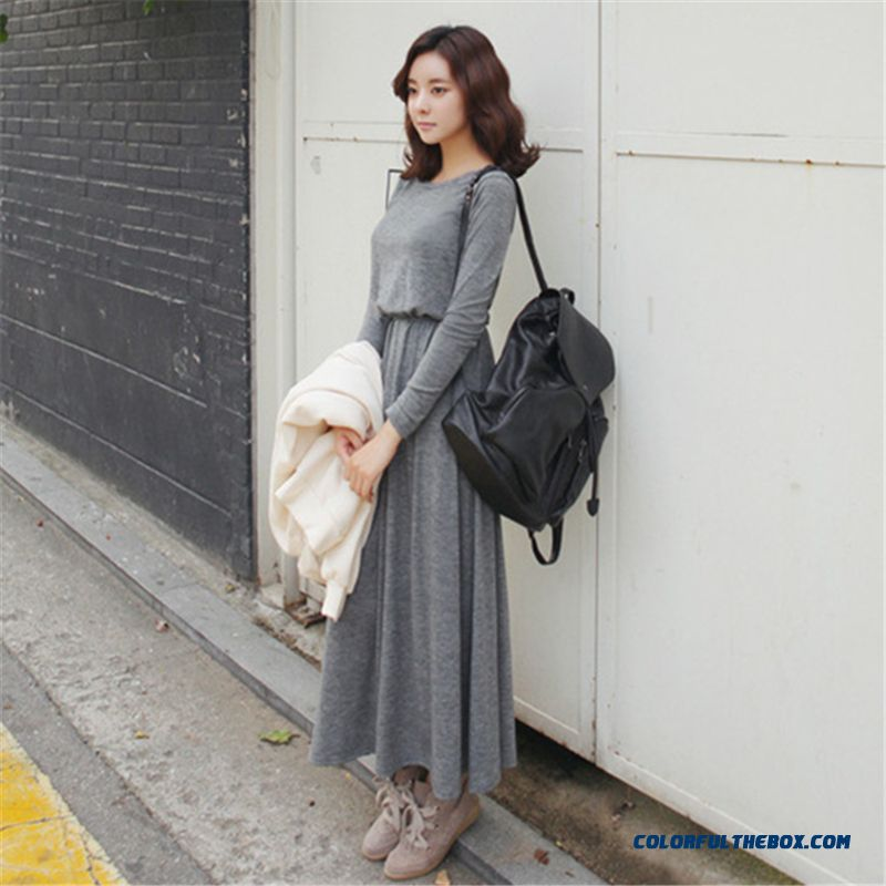 Suitable For Any Body Backless Long-sleeved Long Dress Women Temperament Casual Dress Thin - more images 1