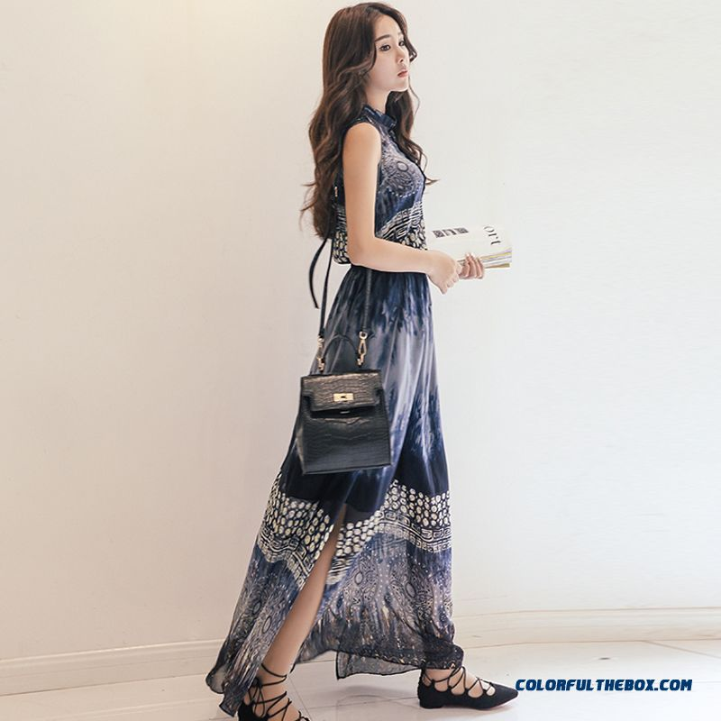 Summer 2016 Beach Vacation Essential Women Retro Print Chiffon Dress Long Skirt