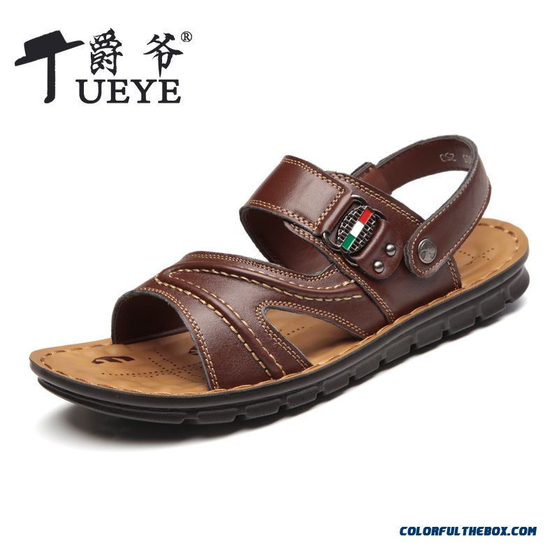 Summer Beach Shoes Casual Sandals Leather Breathable Men