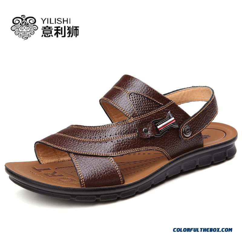 Summer Beach Shoes Men Leather Breathable Casual Shoes Sandals Tide