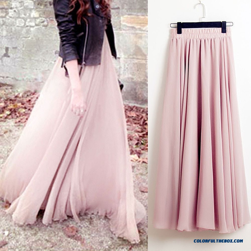 Summer Bohemia Long Skirts Women Stretch High Waist Solid Chiffon A-line Skirt Casual Pleated Maxi Skirt Faldas Saias Streetwear