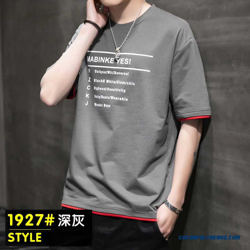 Summer Bottoming Shirt Trend Half Sleeve Short Sleeve Gray Round Neck T-shirt Slim Men's Coat Loose