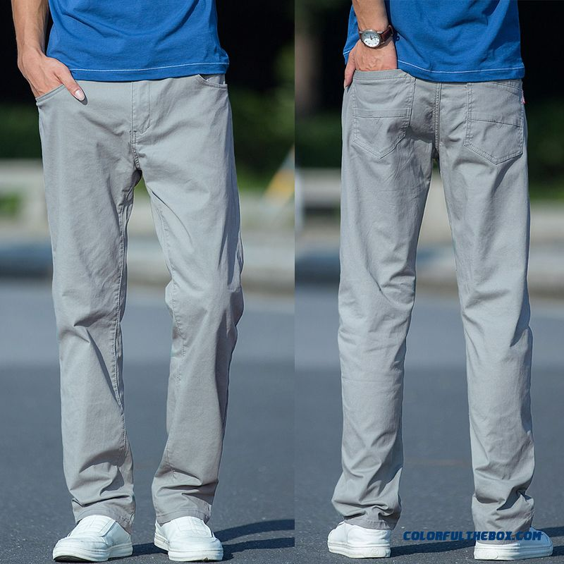 Summer Cotton Men's Straight Skinny Large Size Pants Gray Trousers Elasticity Leisure Pure Loose