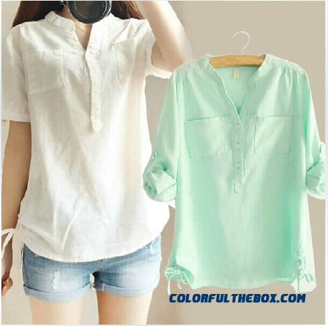 Summer Cotton Shirt Short Sleeve Women's Shirts