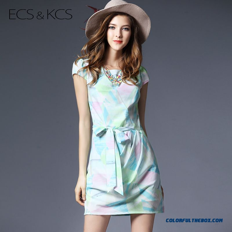 Summer Digital Printing Crew Neck Slim Short Sleeve Women Dress Fashion