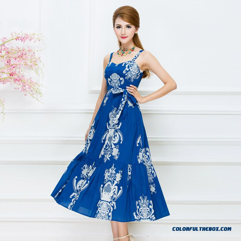 Summer Dress New Women Print Dress Blue Red Upscale Clothing Free Shipping