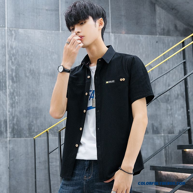Summer Europe Cotton Loose Shirt Men's Leisure Short Sleeve Black Coat Trend Pure