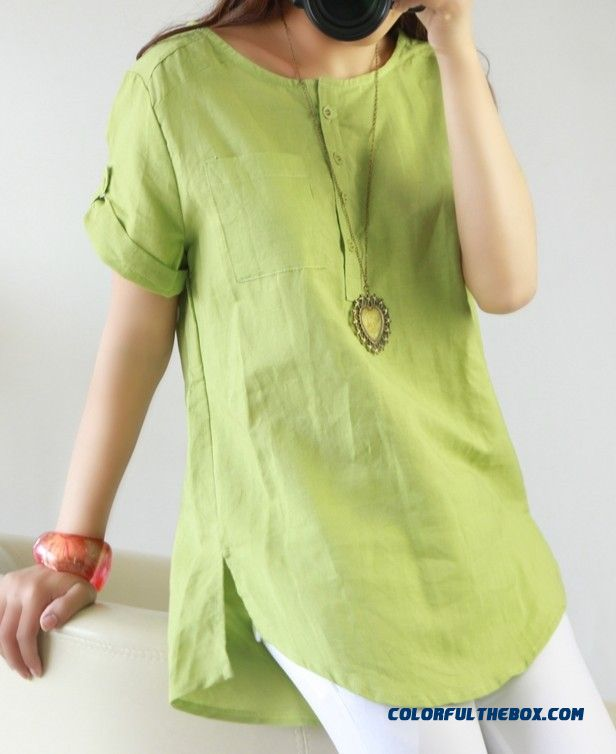 Summer Fluid Systems Shirt Linen Blouses Plus Size For Women