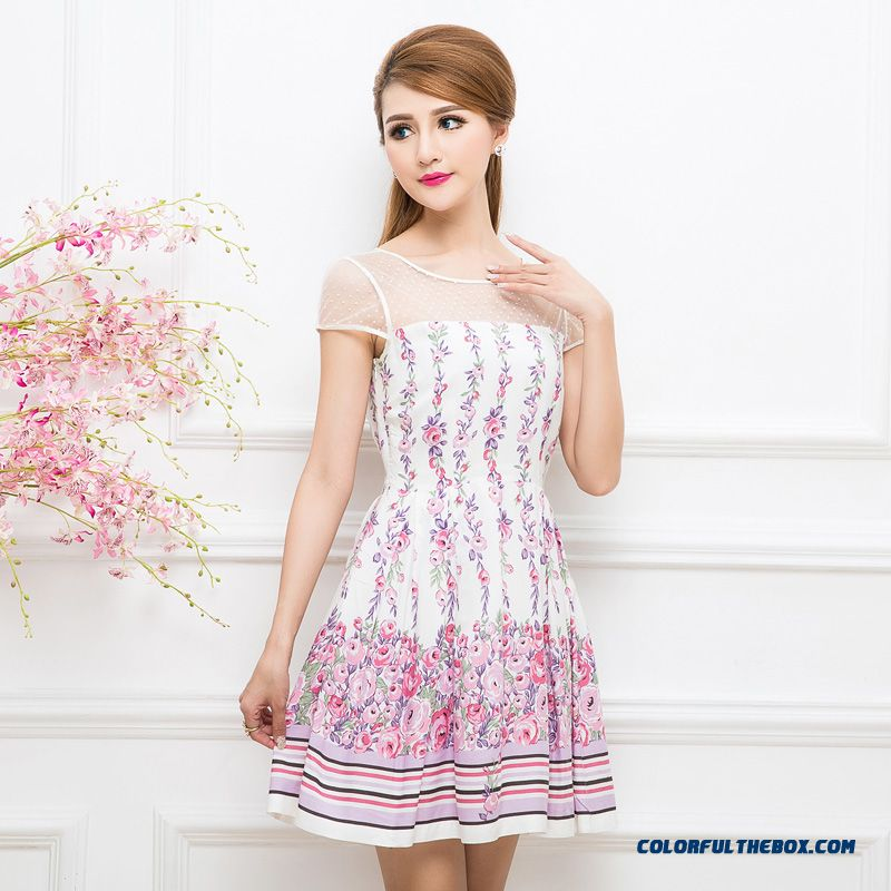 Summer Gauze Stitching Crew Neck Short-sleeved Printed Dress Pleated Skirt Thin Dress For Women