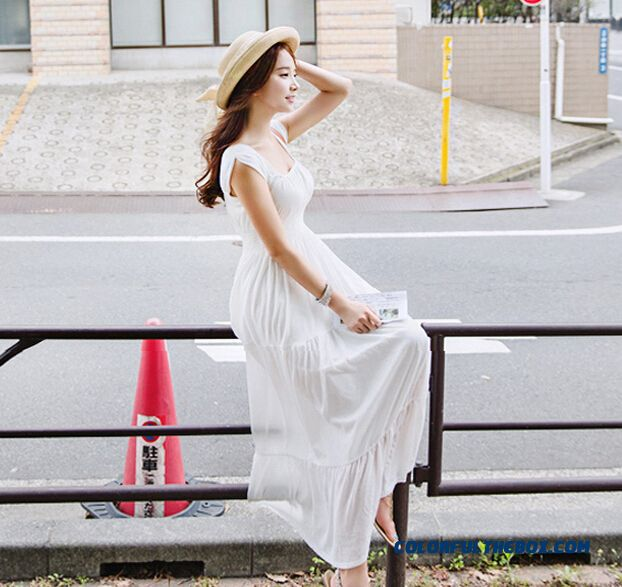 Summer High-end Women Sexy Slim Chiffon Dress Shaped Waist Long Dress