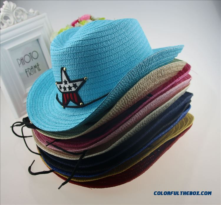Summer Kids Cowboy Straw Hat Kids Girls Boys Straw Sunshade Hats Men's Sunscreen Parent-child Design