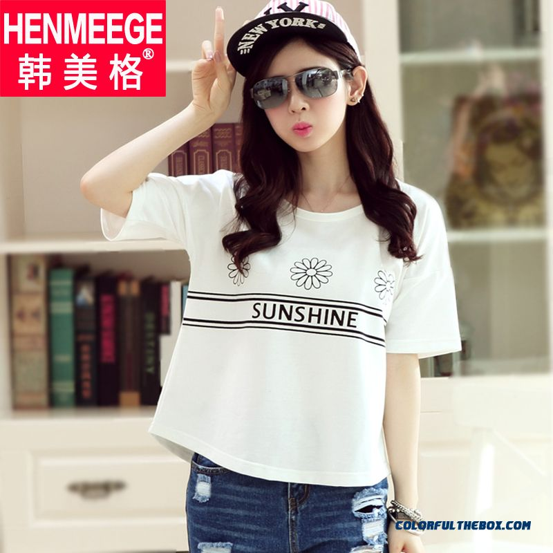 Summer Large Size Loose Cotton Pritn Women's Short-sleeved T-shirt