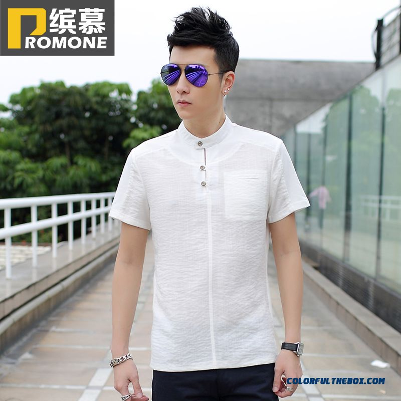 Summer Men White Short Sleeve Tees Young Vogue Free Shipping