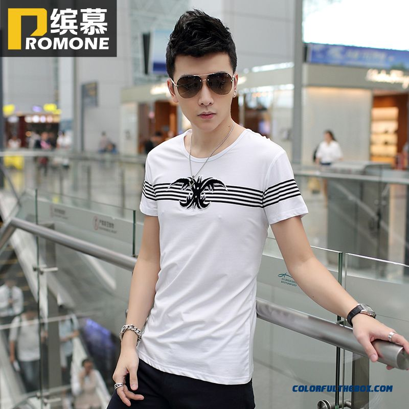 Summer Men's Short-sleeve Tees Crew Neck Render Unlined Upper Garment