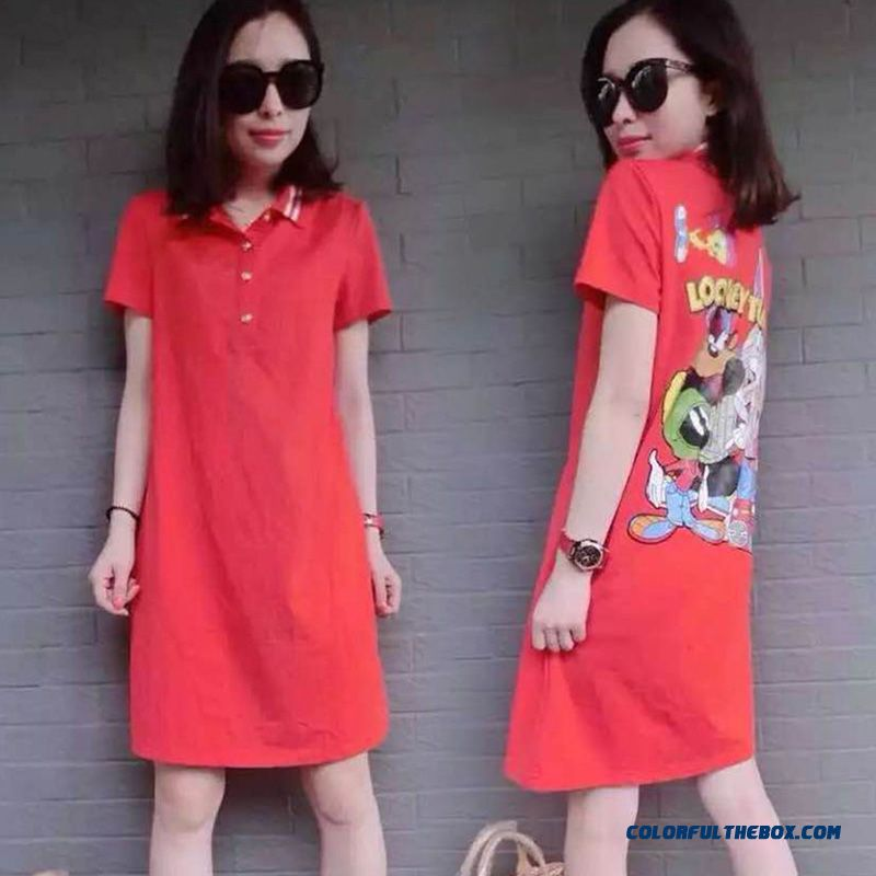 Summer New Cartoon Printed Women Dress Lapel Loose Casual Short-sleeved Large Size