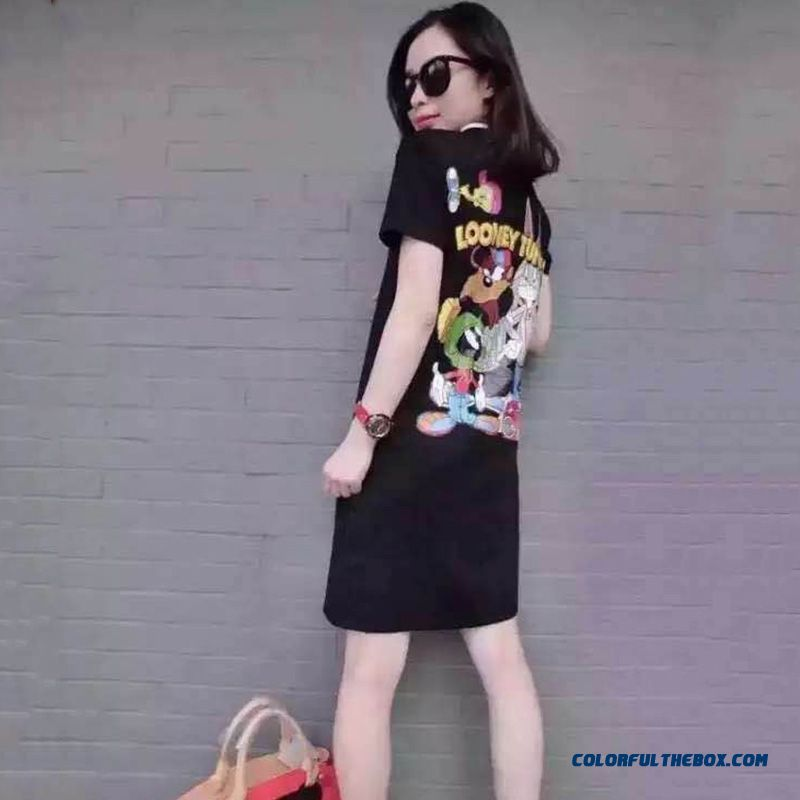 Summer New Cartoon Printed Women Dress Lapel Loose Casual Short-sleeved Large Size - more images 4