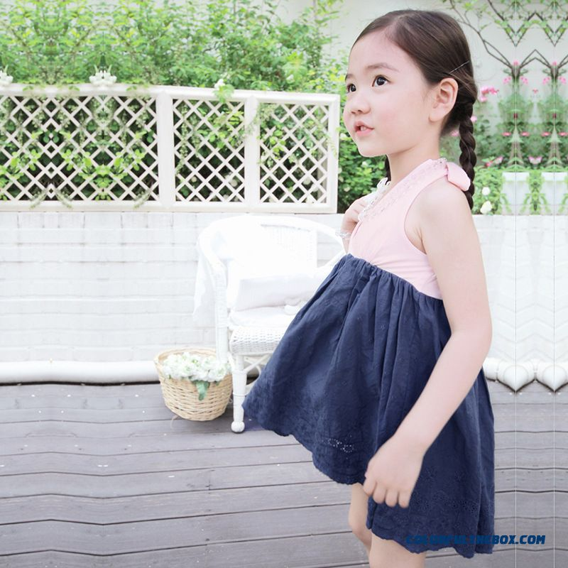 Summer New Children's Kids Clothing Girls Halter Dress Kids Cotton Hanging Neck Dress Stitching Princess Dress