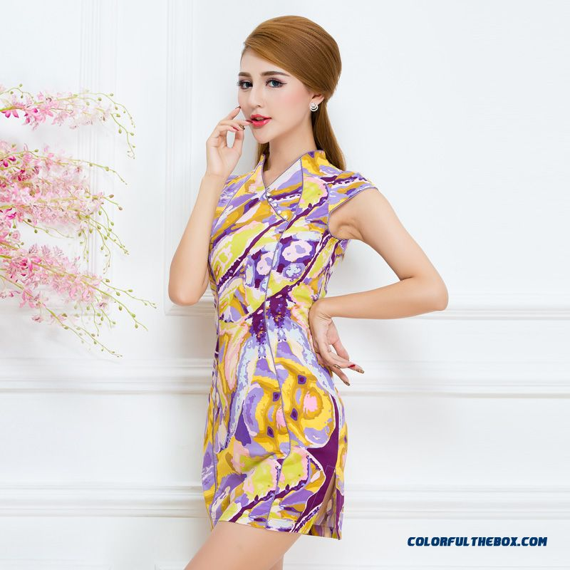 Summer New Chinese Style Improved Cheongsam Dress Slim Women Dress Quality Fabrics