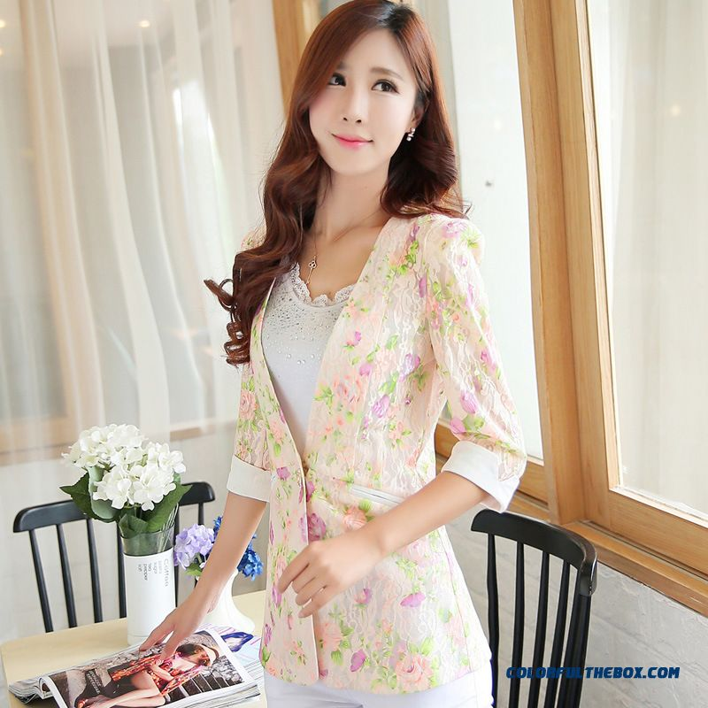 Summer New Coat Women All-match Flowers Small Suit