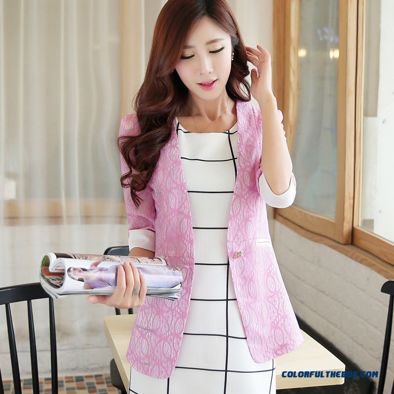 Summer New Coat Women All-match Flowers Small Suit - more images 2