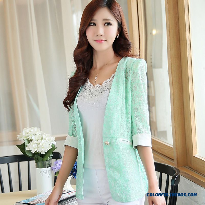Summer New Coat Women All-match Flowers Small Suit - more images 3
