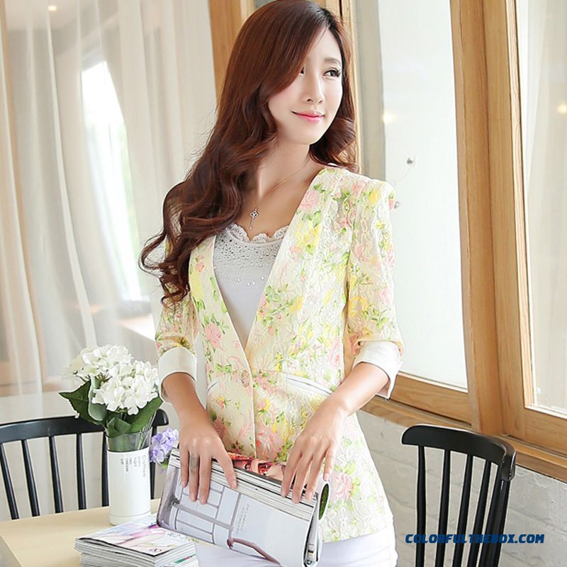 Summer New Coat Women All-match Flowers Small Suit - more images 4