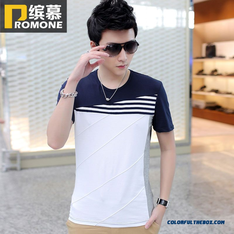 Summer New Crew Neck Short Sleeve Tees Men Cllothing Stitching Tide