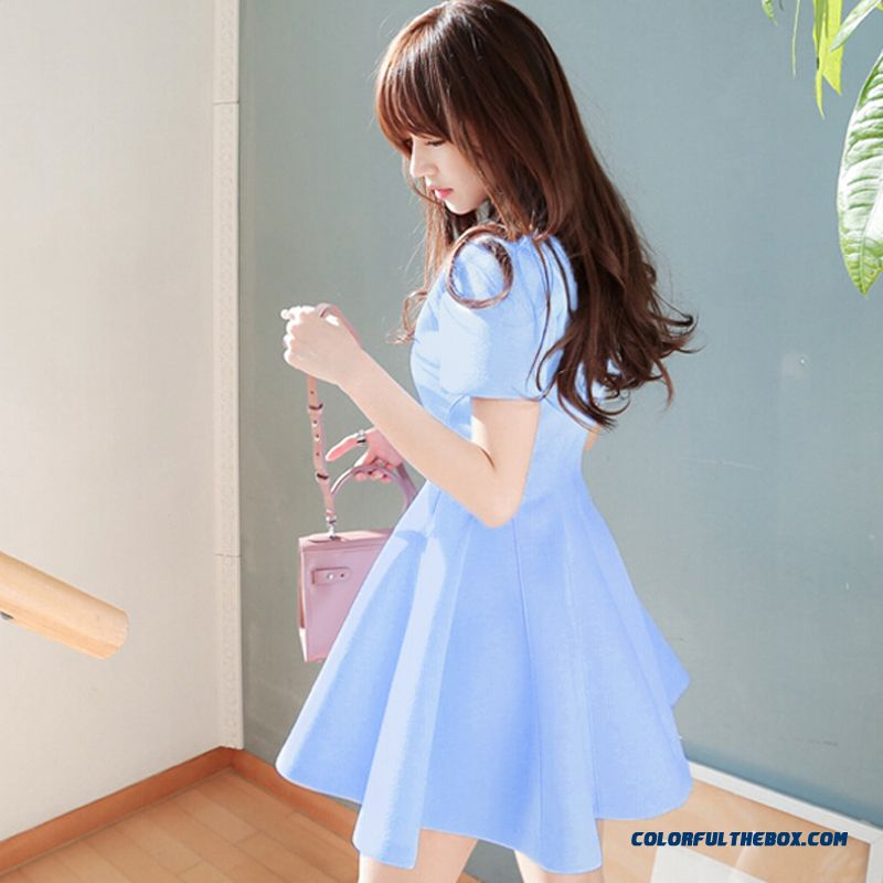 Summer New Crew Neck Short-sleeved Knit Dress Women Slim Blue