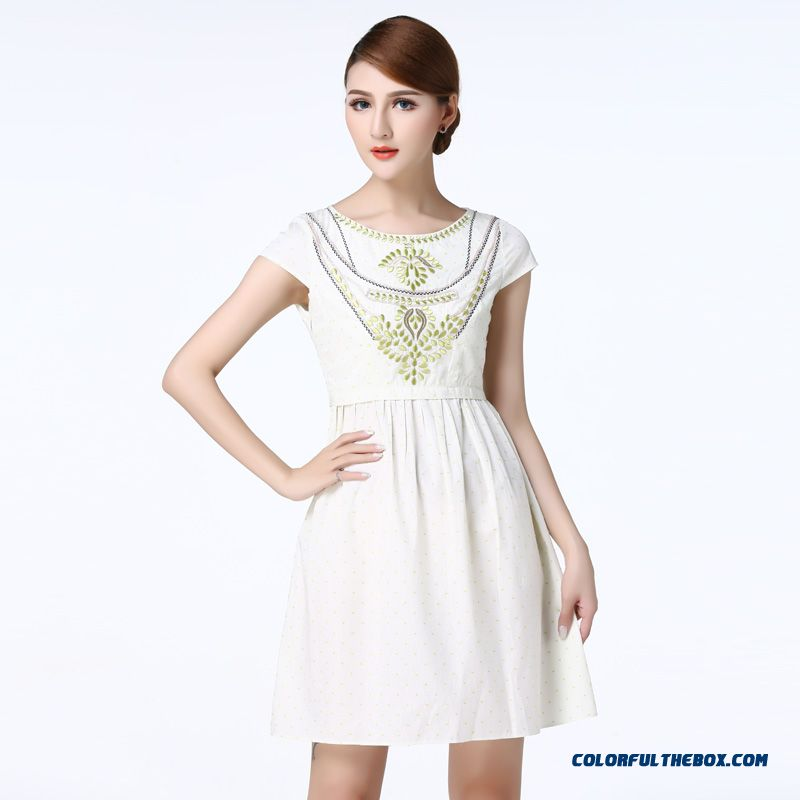 Summer New Ethnic Embroidery Stitching Crew Neck Thin High Waist Pleated Dress