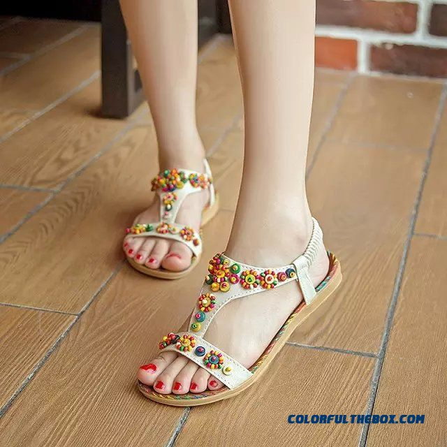 Summer New Ethnic Style Hand-beaded Flat Women Sandals Open-toed Shoes With Flat