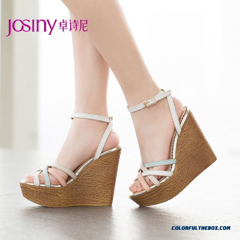 Summer New European And American Style Of Higher Heel Open-toed Sandals Women Wedge Heel Buckle