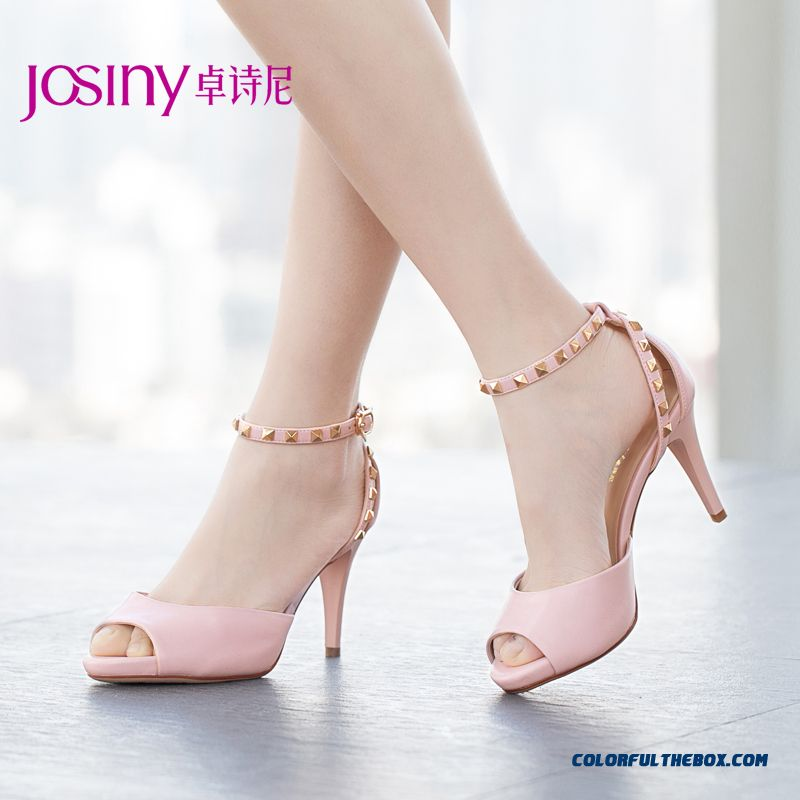 Summer New European And American Style Of Rivet Buckle Stiletto Sandals Fish Head Women Shoes