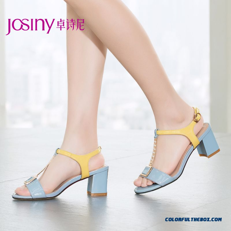 Summer New High-heeled Sandals With Rough Heel String Of Beads Buckle Spell Color Women Shoes