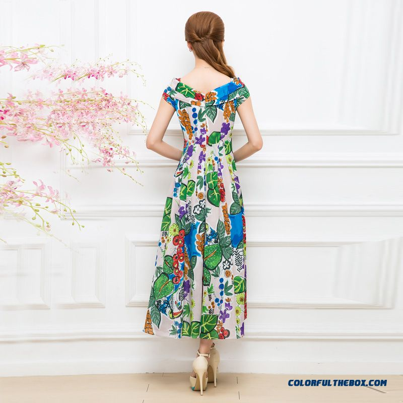 Summer New Korean Style Design Short-sleeved Printed Chiffon Dress Bohemian Long Dress For Women - more images 2