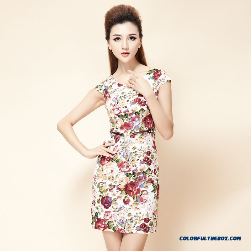 Summer New Lady Temperament Shaped Waist Slim Short-sleeved V-neck Print Dress Women's Clothing