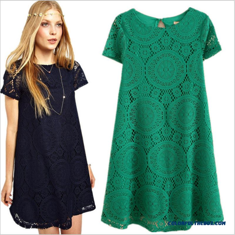 Summer New Large Size Women Popular In Europe And America Hollow Lace Loose Short-sleeved Dress