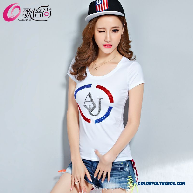 Summer New Loose Cotton Short-sleeved T-shirt Women Drilling Slim Tide