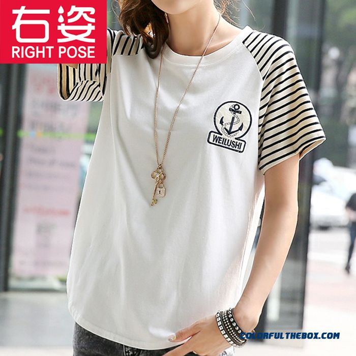 Summer New Loose Short-sleeved T-shirt Women White Striped Large Size