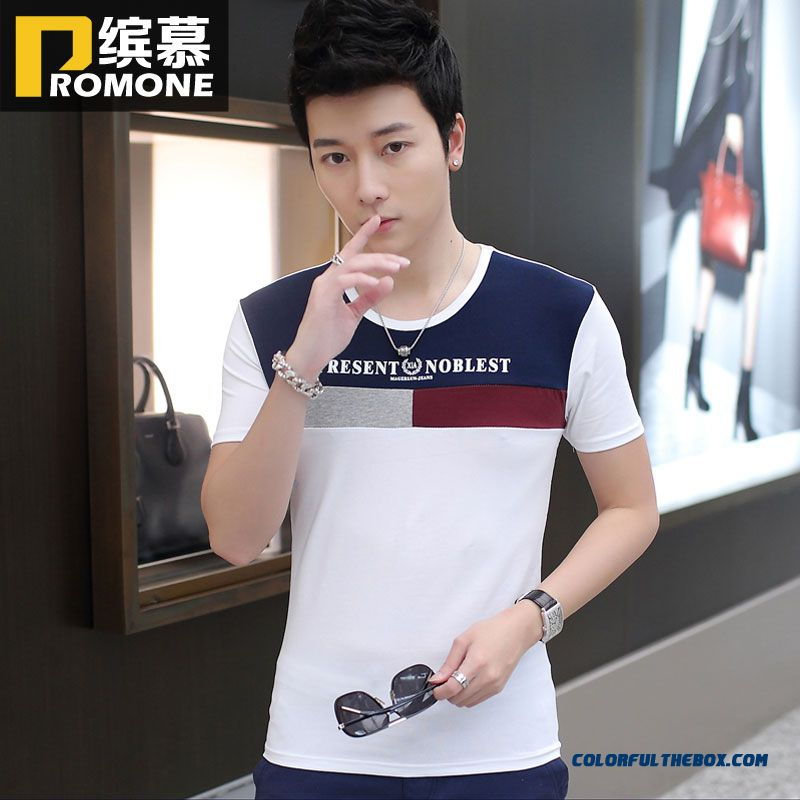 Summer New Men's Crew Neck Tees Short-sleeve Splicing Young Fashion Hot Selling