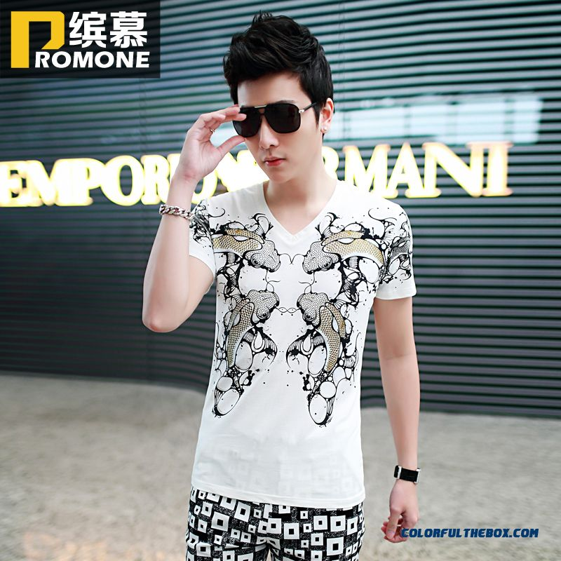 Summer New Men's Fashion Slim Pattern Printed Crew Neck Short Sleeve Tees Tide