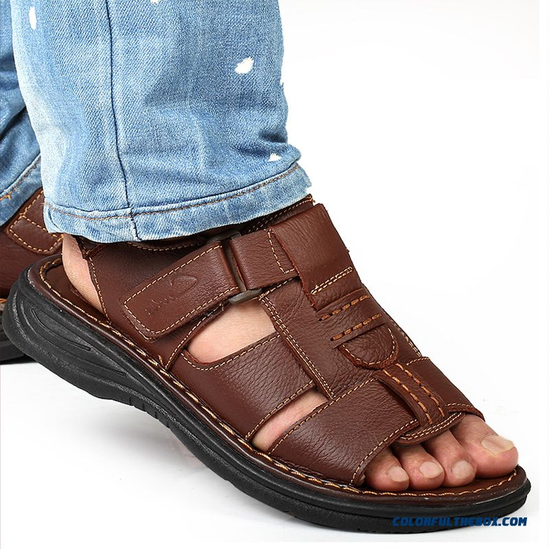 Summer New Men's Leather Breathable Casual Open Toe Sandals