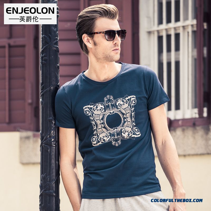 Summer New Men's Personality Cotton Crew Neck Tees Printing Slim Free Shipping