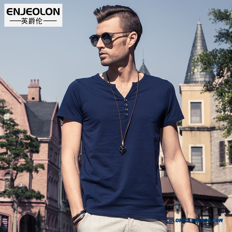 Summer New Men's Personality V-neck Short-sleeved Tees Slim Button Decoration Cotton Tide