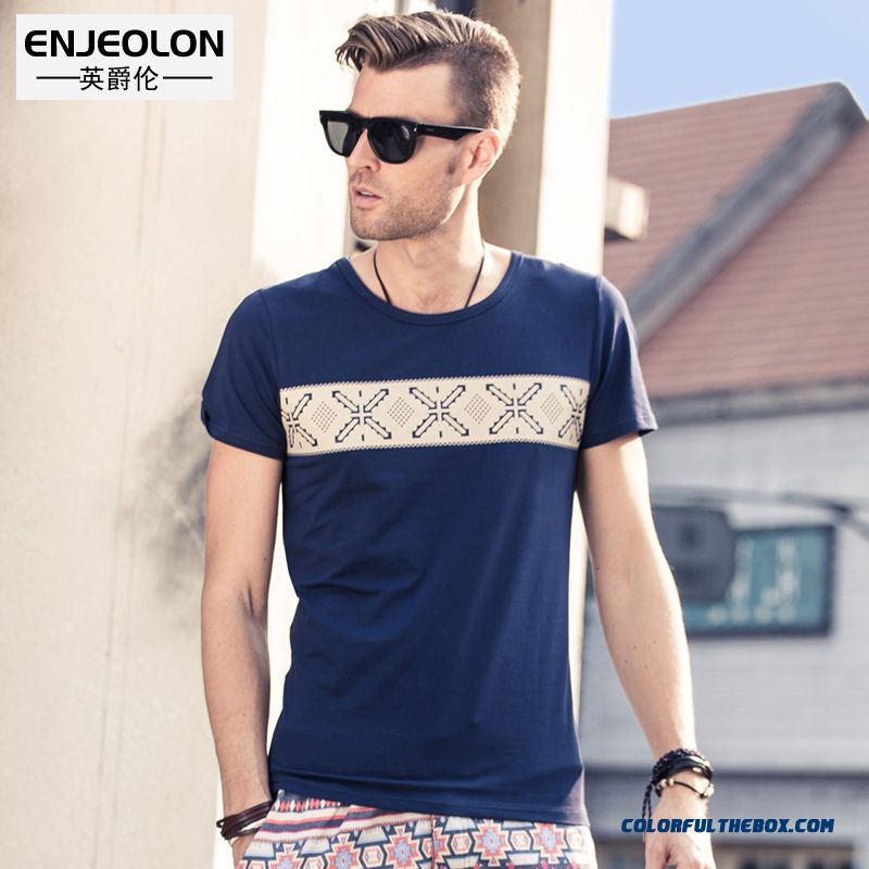 Summer New Men's Short-sleeved Crew Neck Printed Tees Korean Version Of The Geometric Patterns National