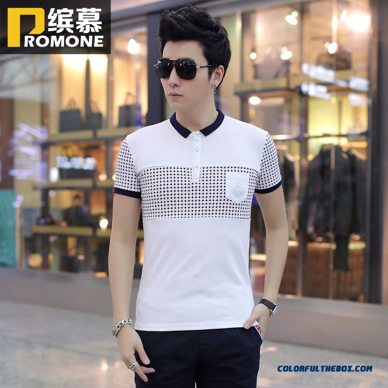 Summer New Men's Short-sleeved Tees Lapel Stitching Slim Hot Selling