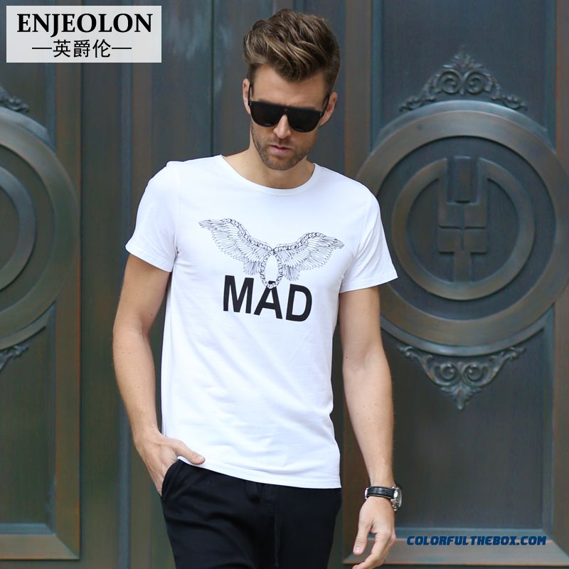 Summer New Men's Short-sleeved Tees Printing Wings Popular In Europe And America Personality