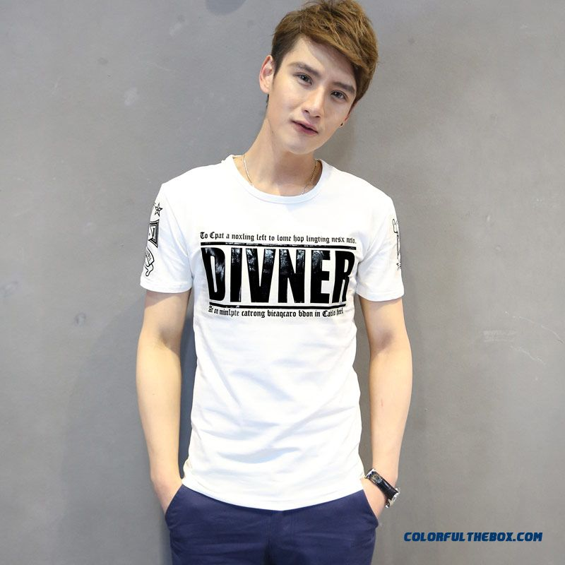 Summer New Men's Short-sleeved Tees Slim Letters Printed Crew Neck Casual
